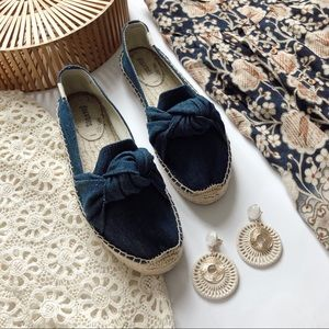 Soludos Knotted Platform Denim Smoking Slippers